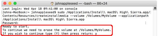 macOS インストール USB
